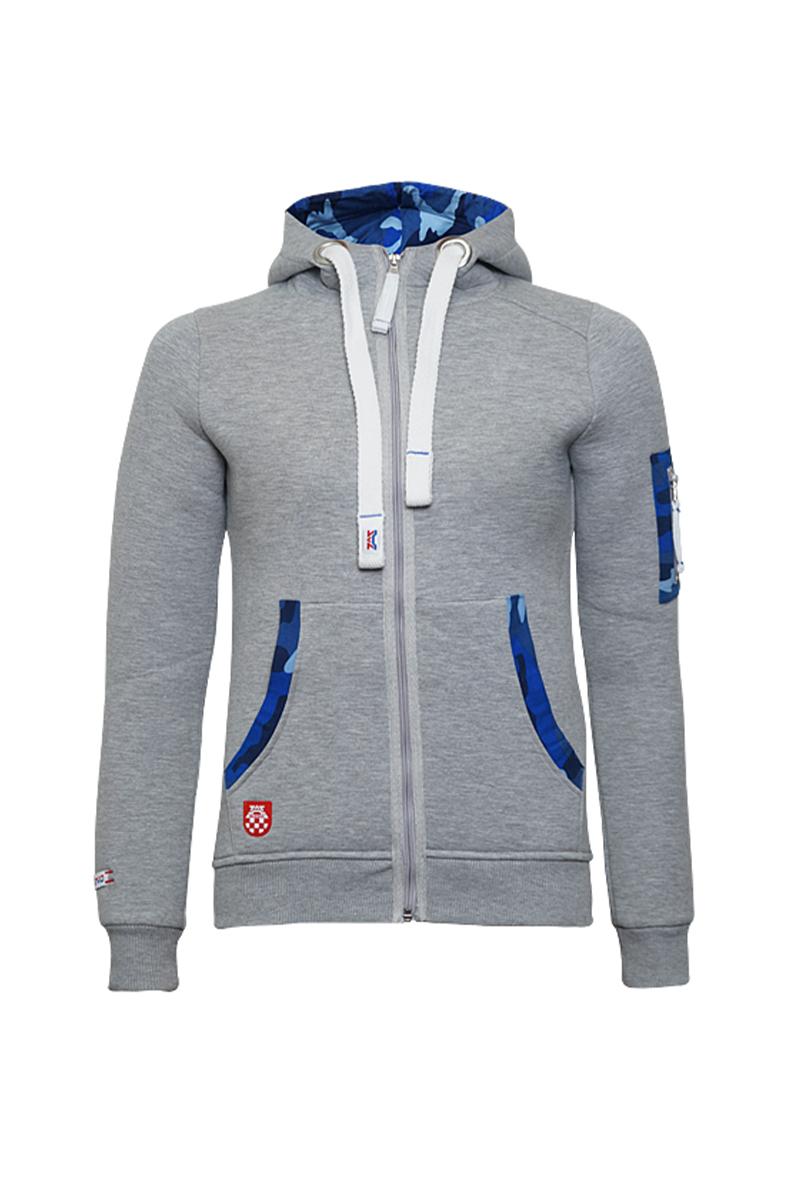 'Zip Hoody' Grey Men